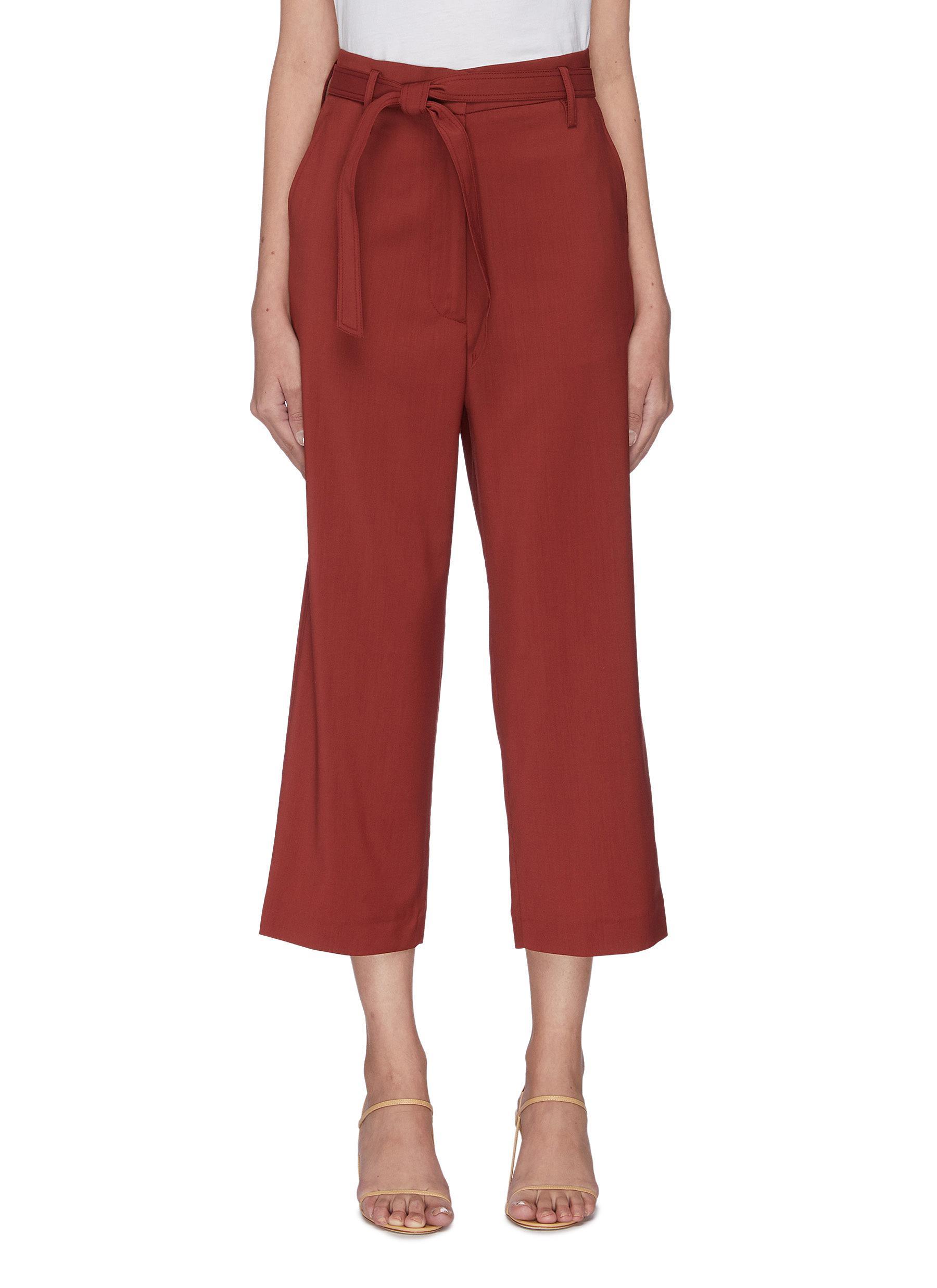 Buy Barena Pants & Shorts 'Giuditta' belted virgin wool crop pants