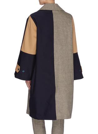 Back View - Click To Enlarge - BARENA - 'Leonia' colourblock check panel coat