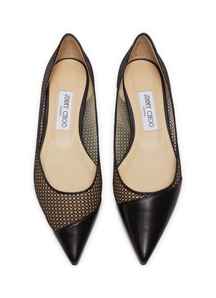 Detail View - Click To Enlarge - JIMMY CHOO - 'Love' asymmetric honeycomb net leather skimmer flats