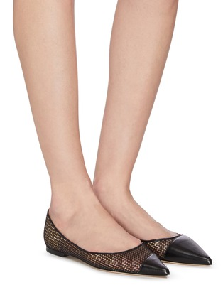 Figure View - Click To Enlarge - JIMMY CHOO - 'Love' asymmetric honeycomb net leather skimmer flats