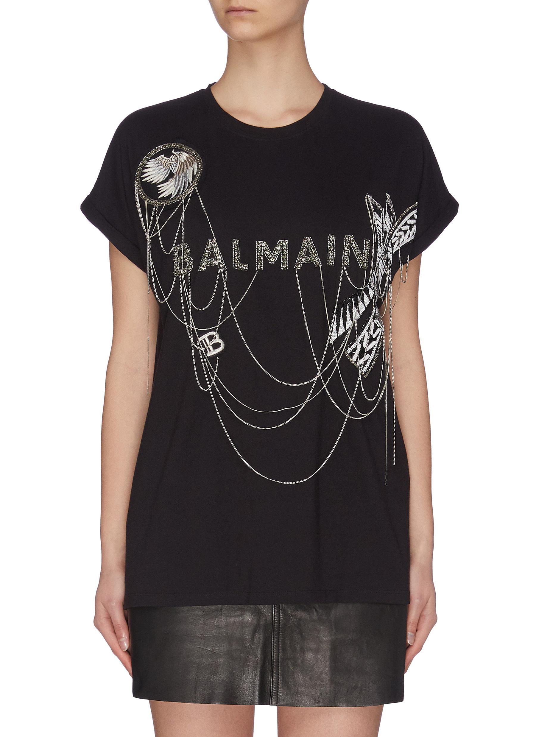 Buy Balmain Tops Logo chain embellished patchwork T-shirt
