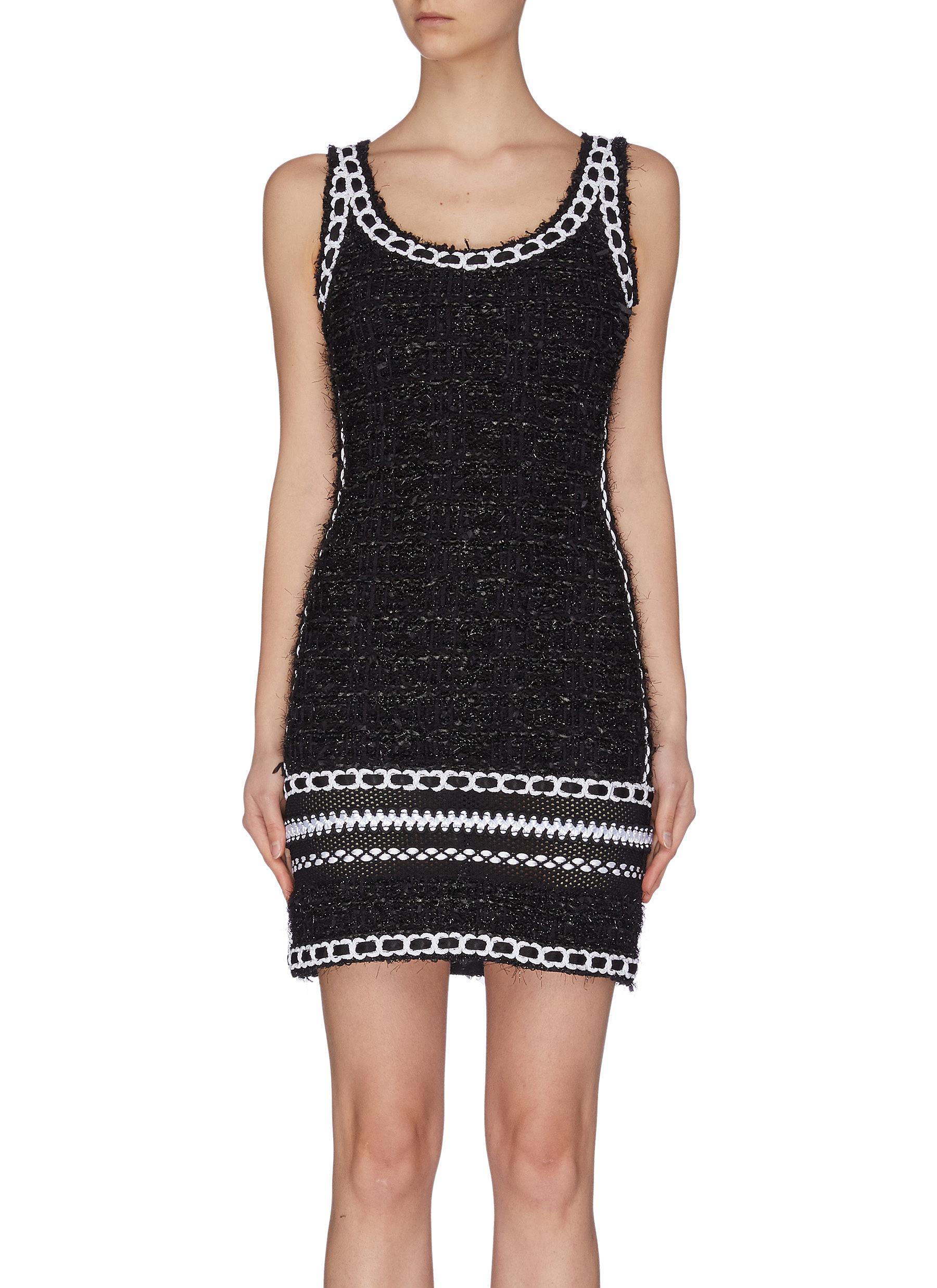 shop Balmain Chain-trimmed tweed mesh knit mini dress online