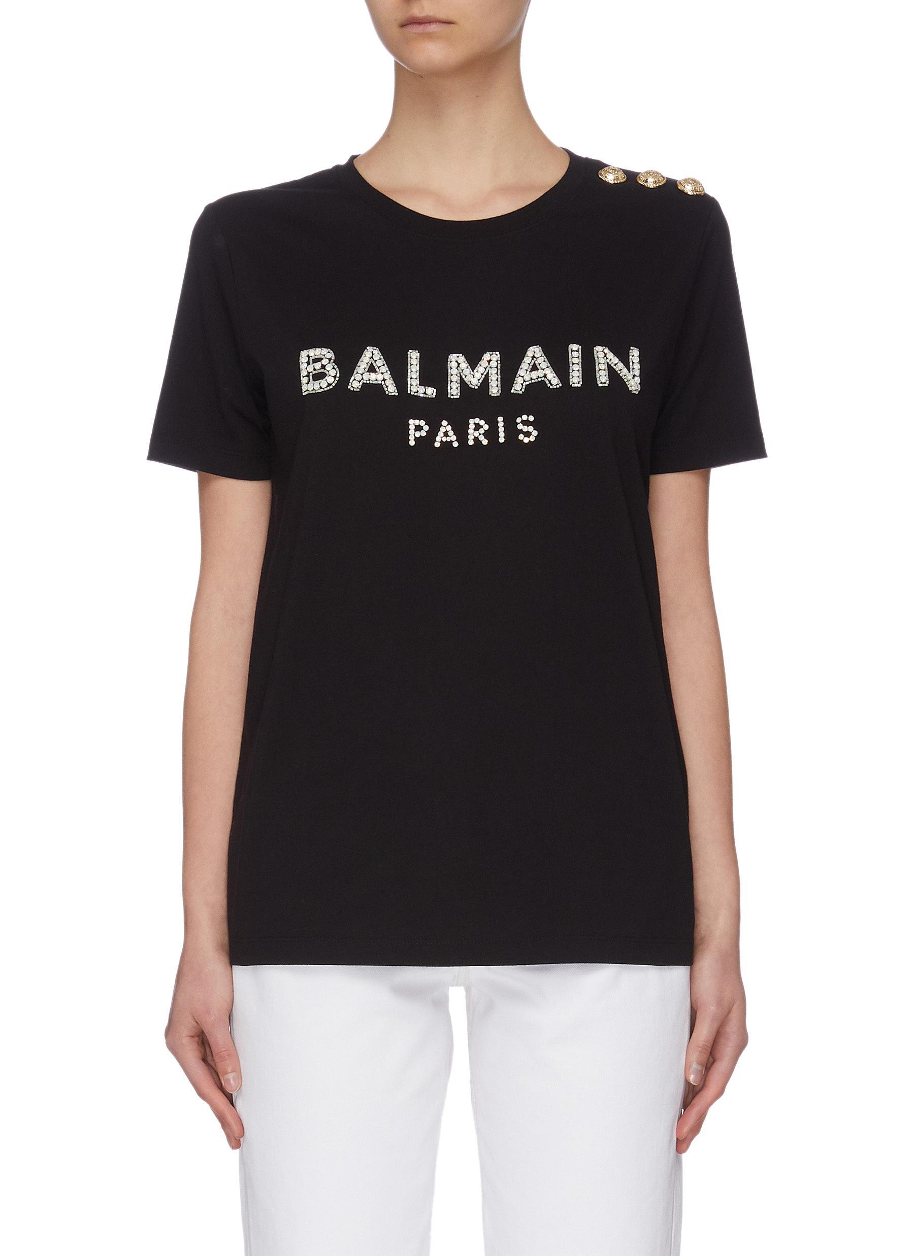 shop Balmain Vintage logo print button embellished T-shirt online