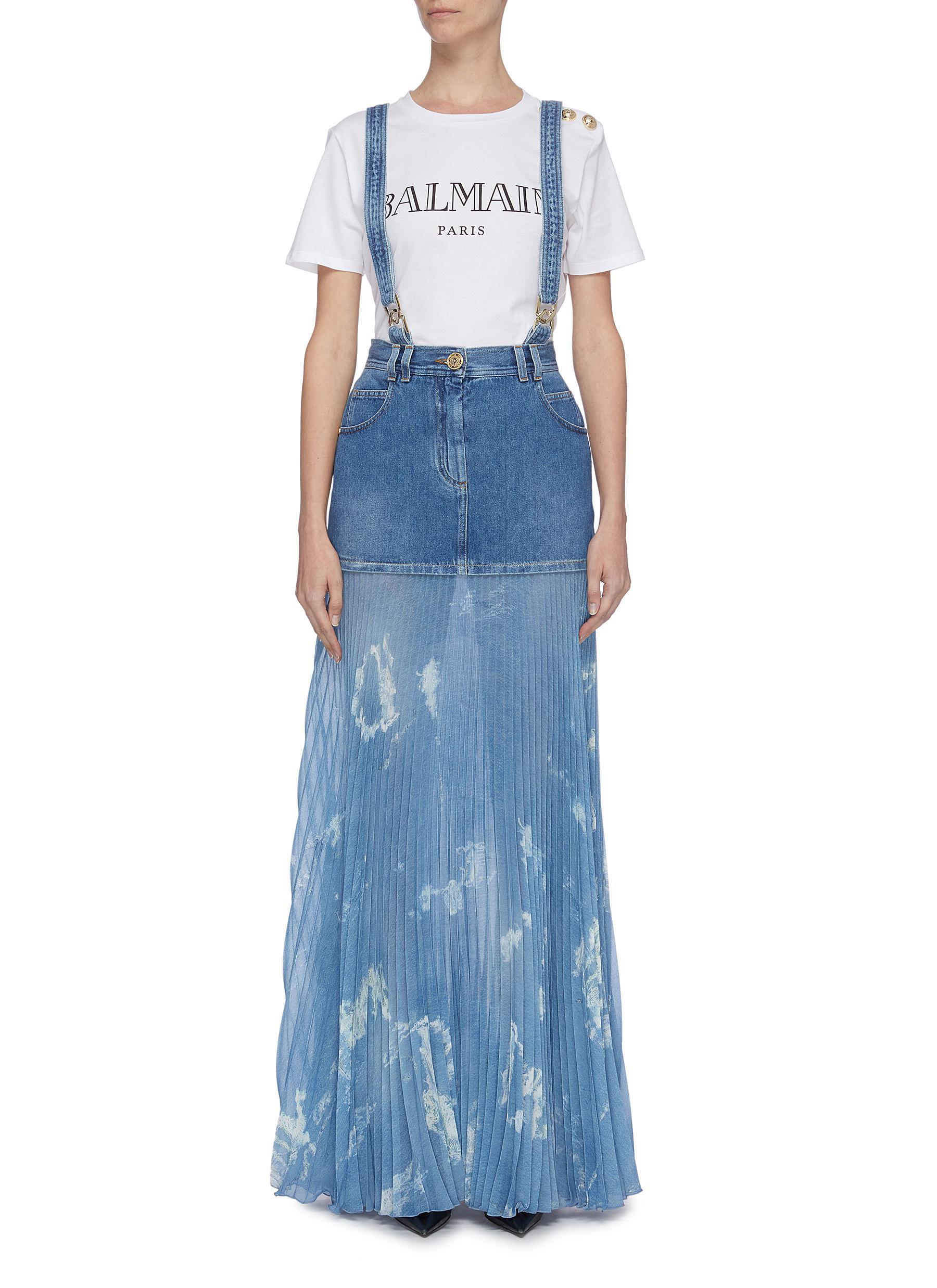 shop Balmain Panelled distressed pleated suspender denim skirt online