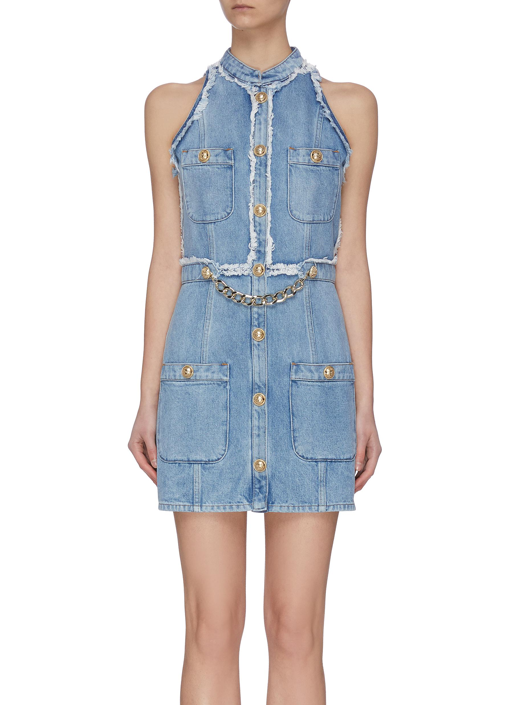 shop Balmain Frayed Embellished Denim Mini Dress online