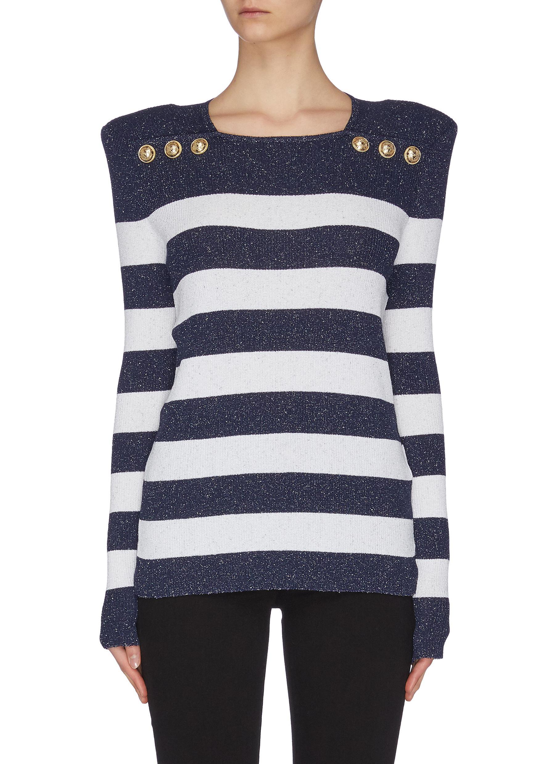 shop Balmain Breton stripe button embellished sweater online