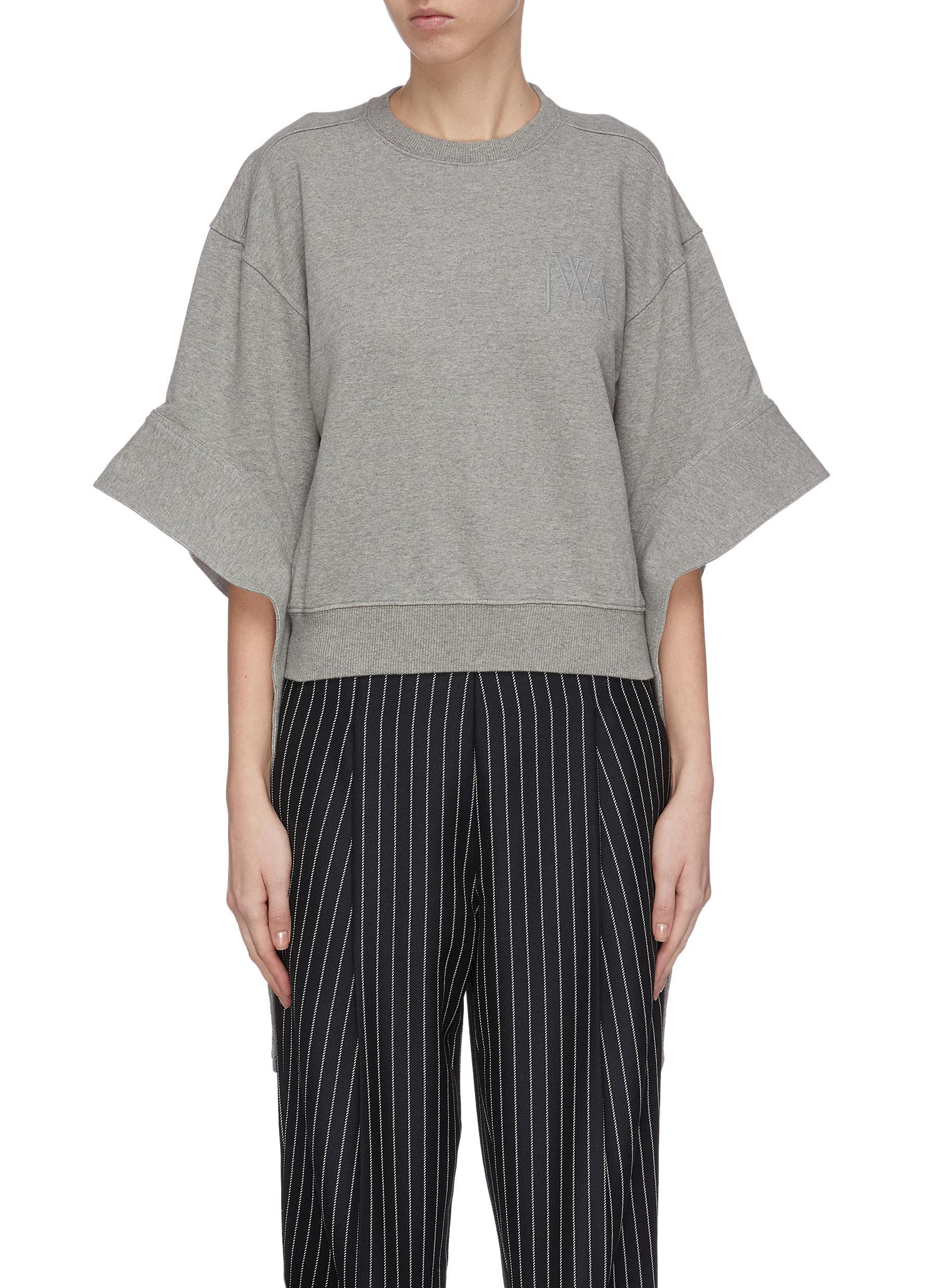shop Jw Anderson Logo embroidered dangle tabs fleeceback sweatshirt online
