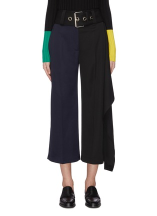 Main View - Click To Enlarge - JW ANDERSON - Handkerchief drape detail belted colourblock pants