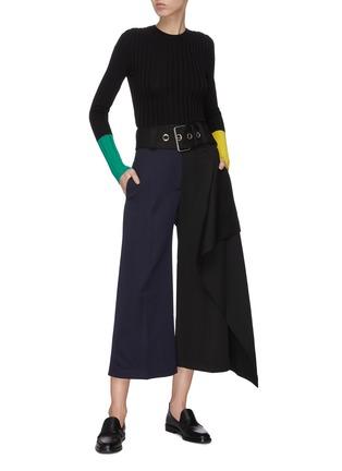 Figure View - Click To Enlarge - JW ANDERSON - Handkerchief drape detail belted colourblock pants