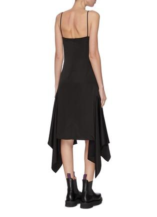 Back View - Click To Enlarge - JW ANDERSON - Drape tabs slip satin midi dress