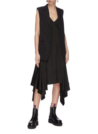 Figure View - Click To Enlarge - JW ANDERSON - Drape tabs slip satin midi dress