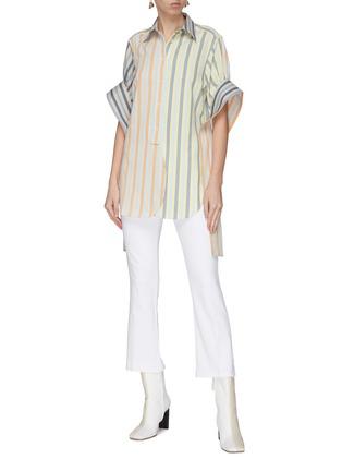 Figure View - Click To Enlarge - JW ANDERSON - 'Parasol' drape tabs stripe shirt