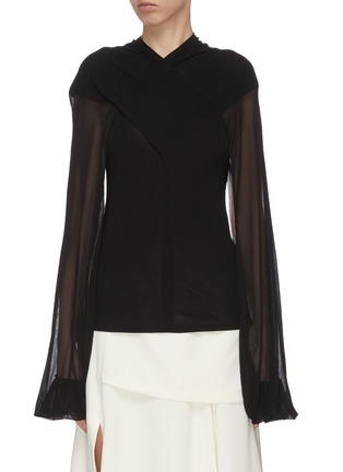 Main View - Click To Enlarge - JW ANDERSON - Sheer sleeve criss cross front top
