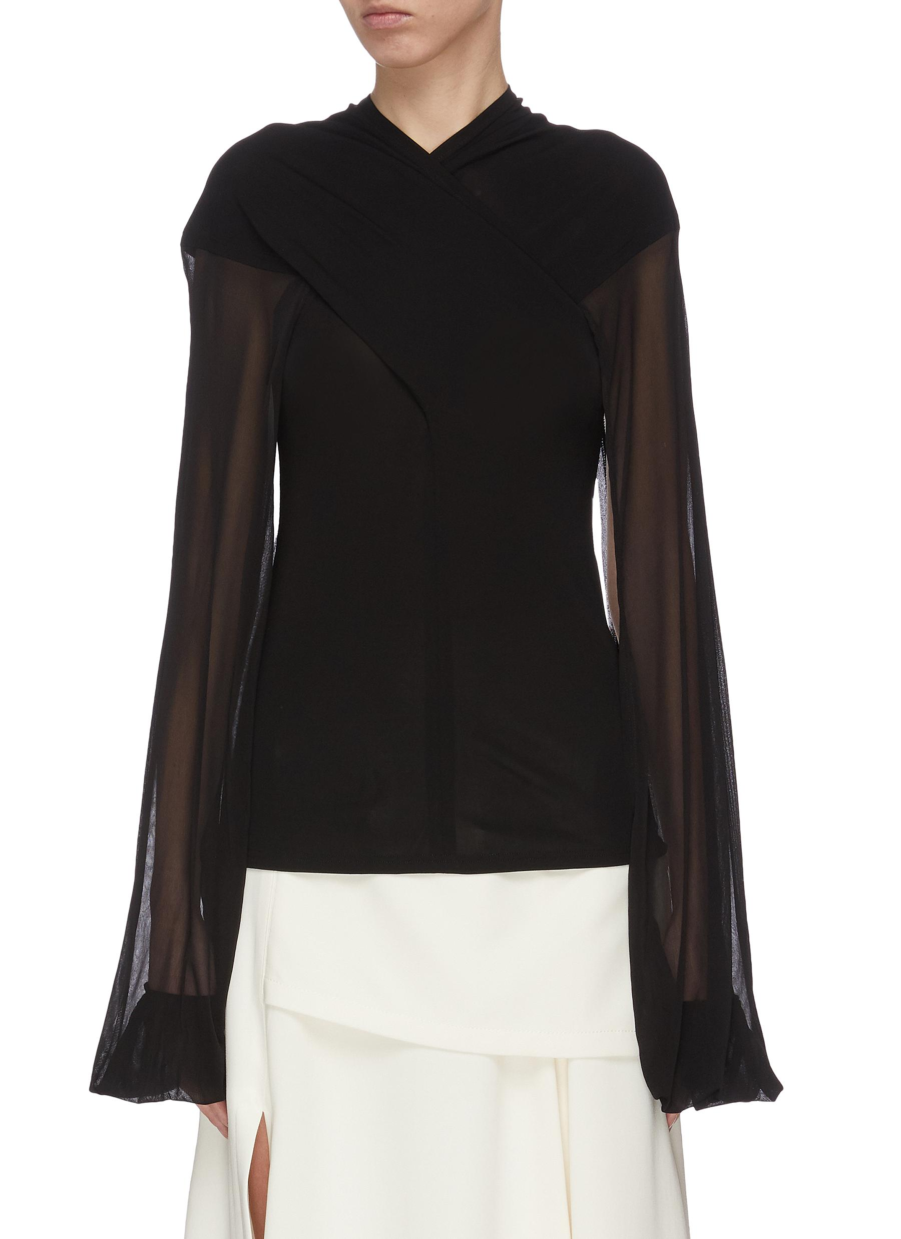 Buy Jw Anderson Tops Sheer sleeve criss cross front top