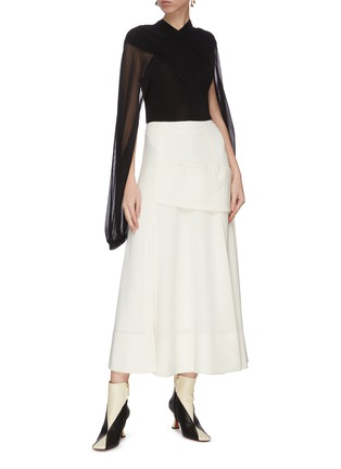 Figure View - Click To Enlarge - JW ANDERSON - Sheer sleeve criss cross front top