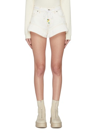 Main View - Click To Enlarge - JW ANDERSON - Flared cuff contrast topstitch mini shorts