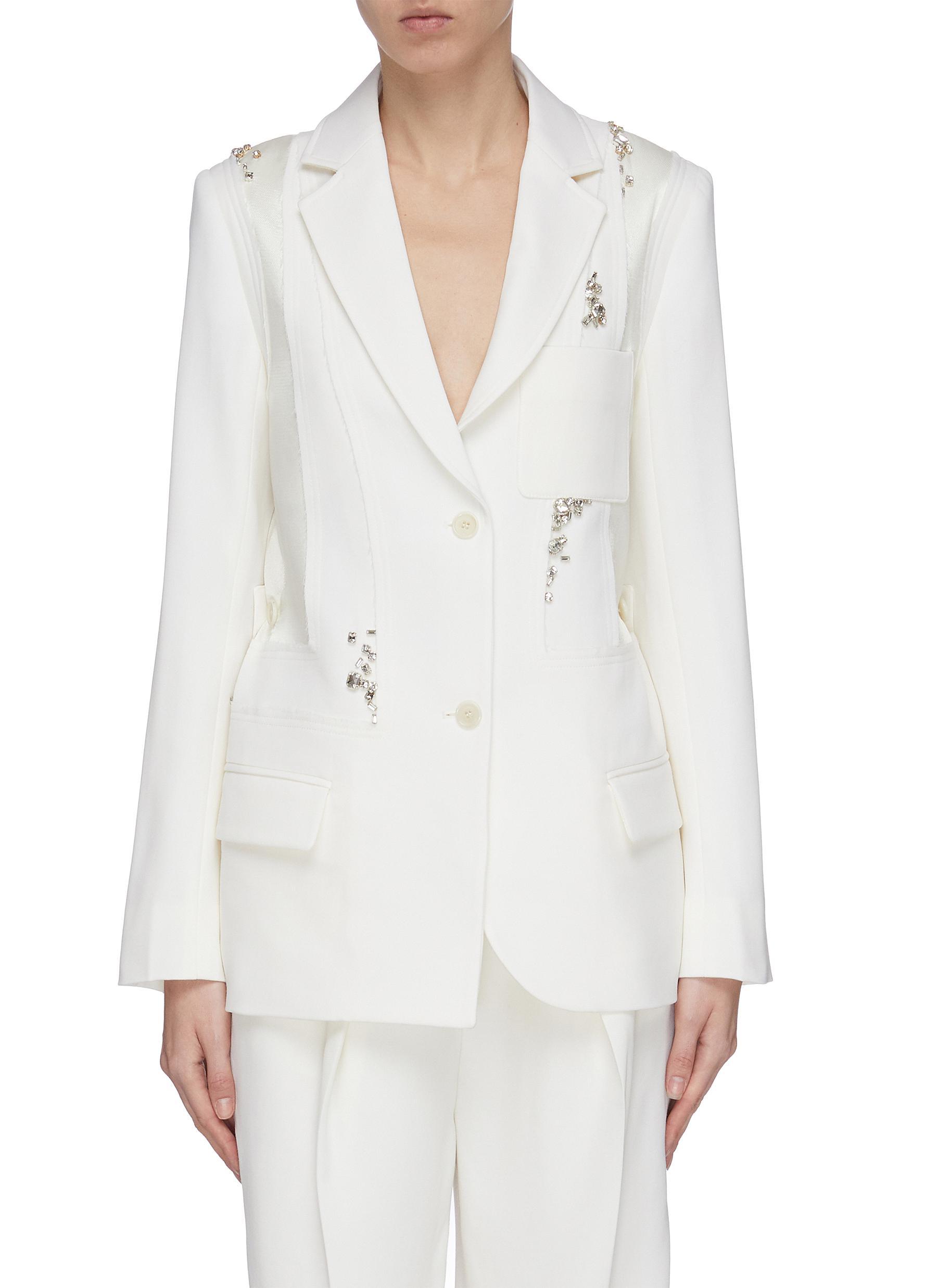shop Jw Anderson Crystal embellished patchwork panelled blazer online