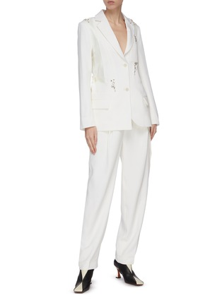 Figure View - Click To Enlarge - JW ANDERSON - Crystal embellished patchwork panelled blazer