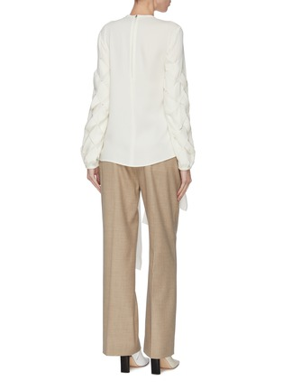 Back View - Click To Enlarge - JW ANDERSON - Basketweave fluid faille ribbon blouse