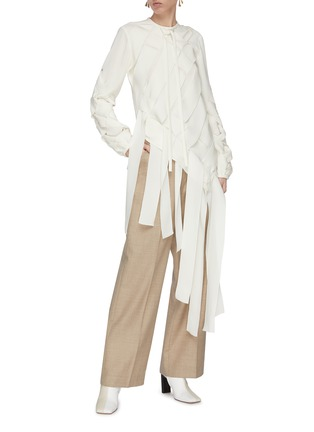 Figure View - Click To Enlarge - JW ANDERSON - Basketweave fluid faille ribbon blouse