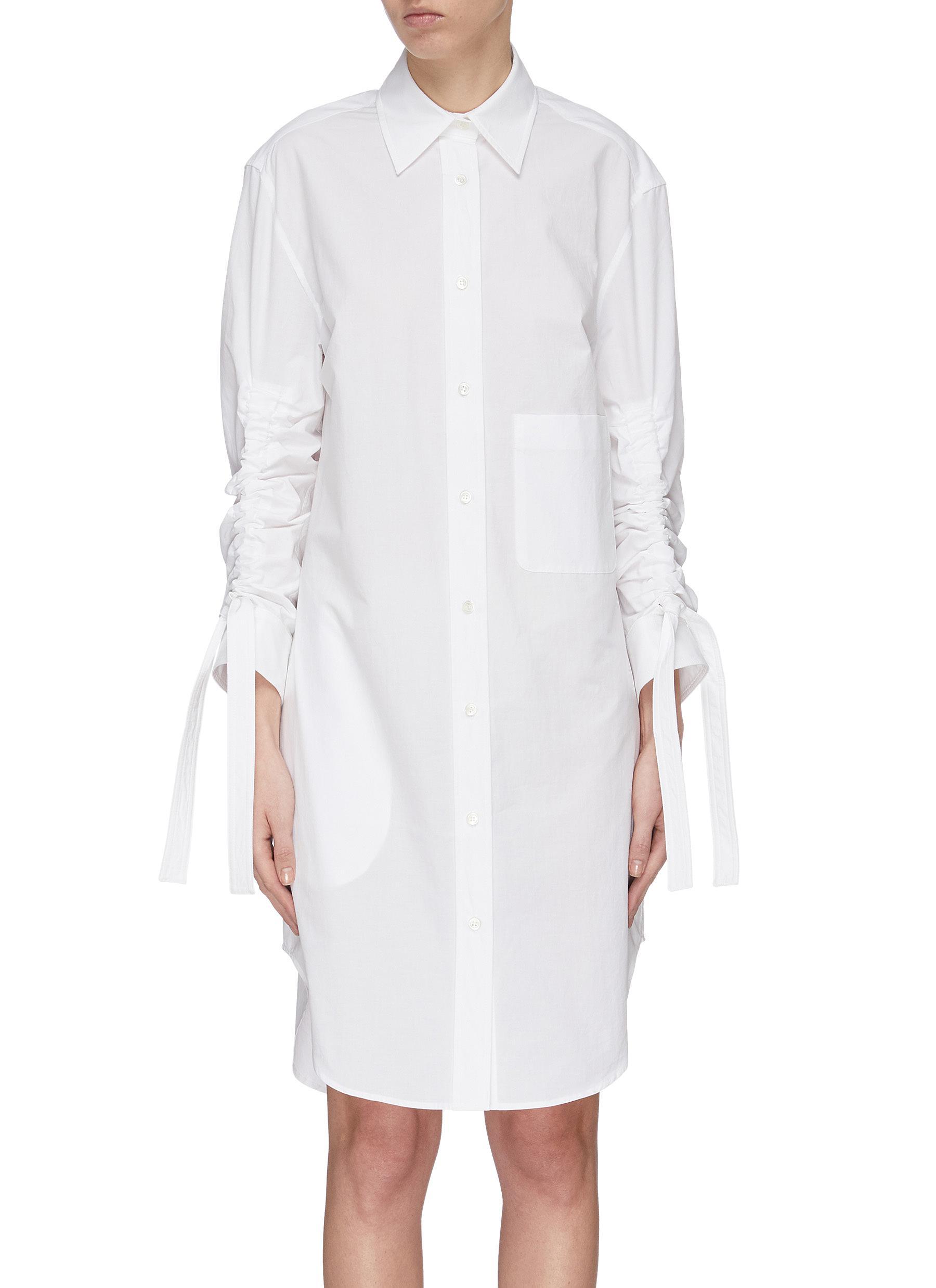 shop Jw Anderson Gathered sleeve poplin shirtdress online
