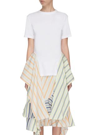 Main View - Click To Enlarge - JW ANDERSON - Stripe handkerchief side drape T-shirt