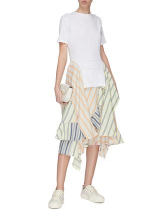 Figure View - Click To Enlarge - JW ANDERSON - Stripe handkerchief side drape T-shirt