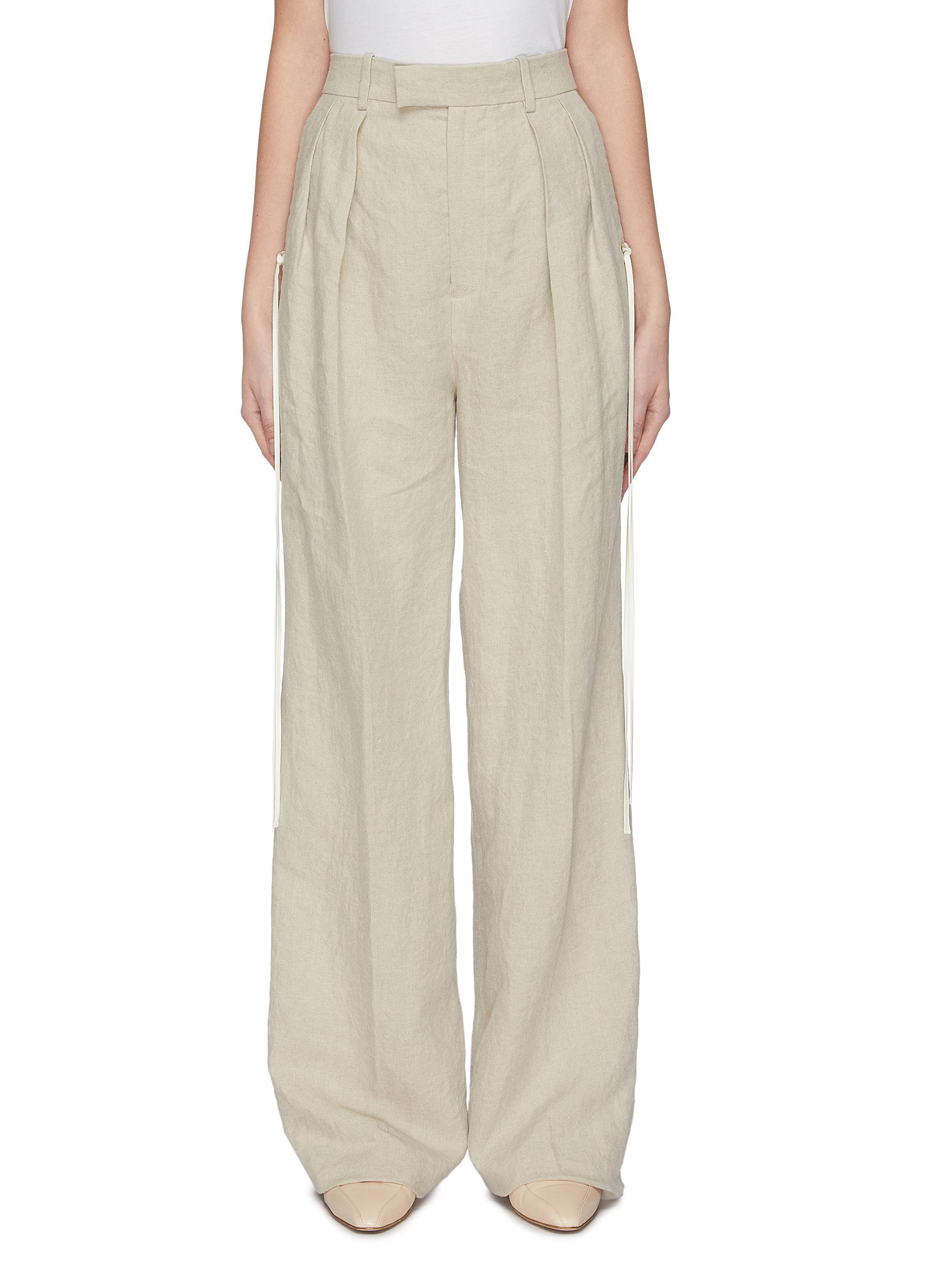 shop Jw Anderson Double dart front washed linen tailored pants online