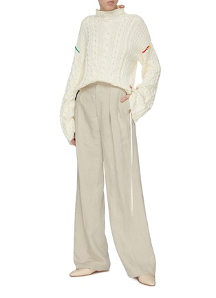 Figure View - Click To Enlarge - JW ANDERSON - Double dart front washed linen tailored pants