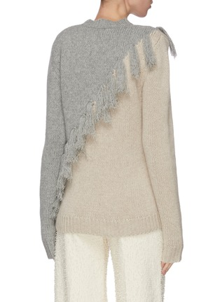 Back View - Click To Enlarge - JW ANDERSON - Tassel front colourblock wool cashmere blend sweater