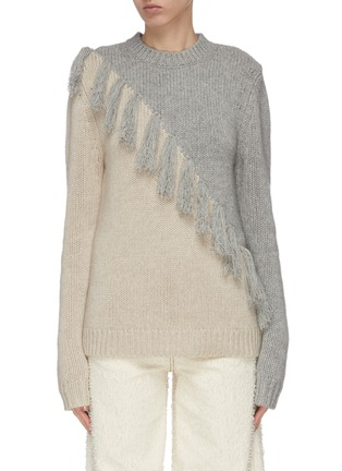 Main View - Click To Enlarge - JW ANDERSON - Tassel front colourblock wool cashmere blend sweater