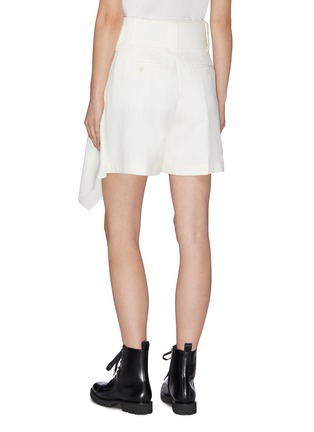 Back View - Click To Enlarge - JW ANDERSON - Asymmetric side handkerchief drape belted mini shorts