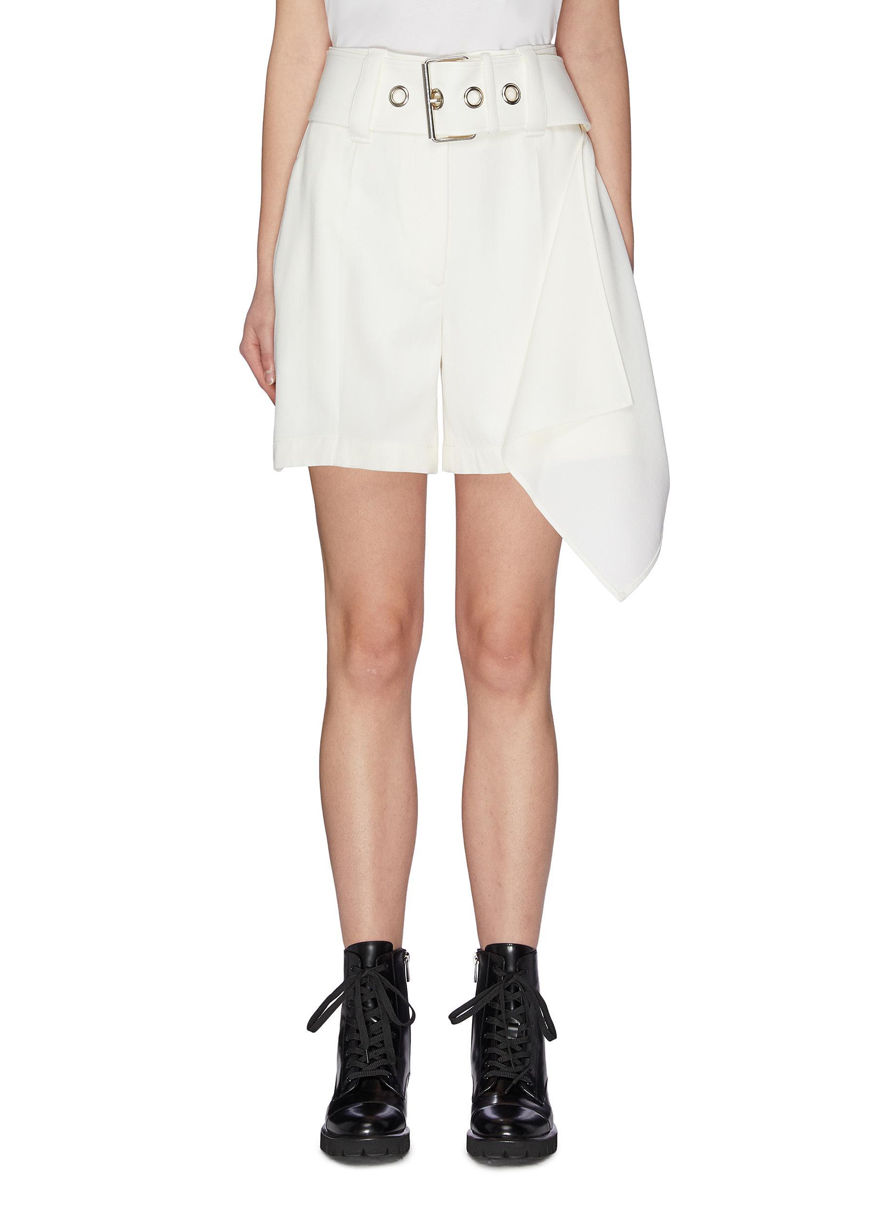 shop Jw Anderson Asymmetric side handkerchief drape belted mini shorts online
