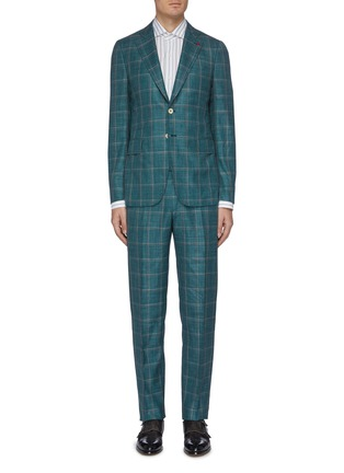 Main View - Click To Enlarge - ISAIA - 'Cortina' notch lapel check wool blend suit
