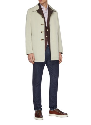 Figure View - Click To Enlarge - ISAIA - Contrasting lining water repellent button-down coat