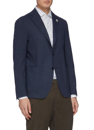 Front View - Click To Enlarge - LARDINI - Notch lapel microcheck water repellent blazer