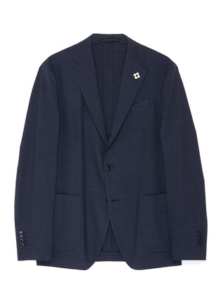 Main View - Click To Enlarge - LARDINI - Notch lapel microcheck water repellent blazer