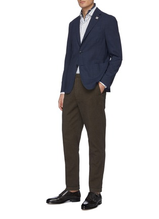 Figure View - Click To Enlarge - LARDINI - Notch lapel microcheck water repellent blazer