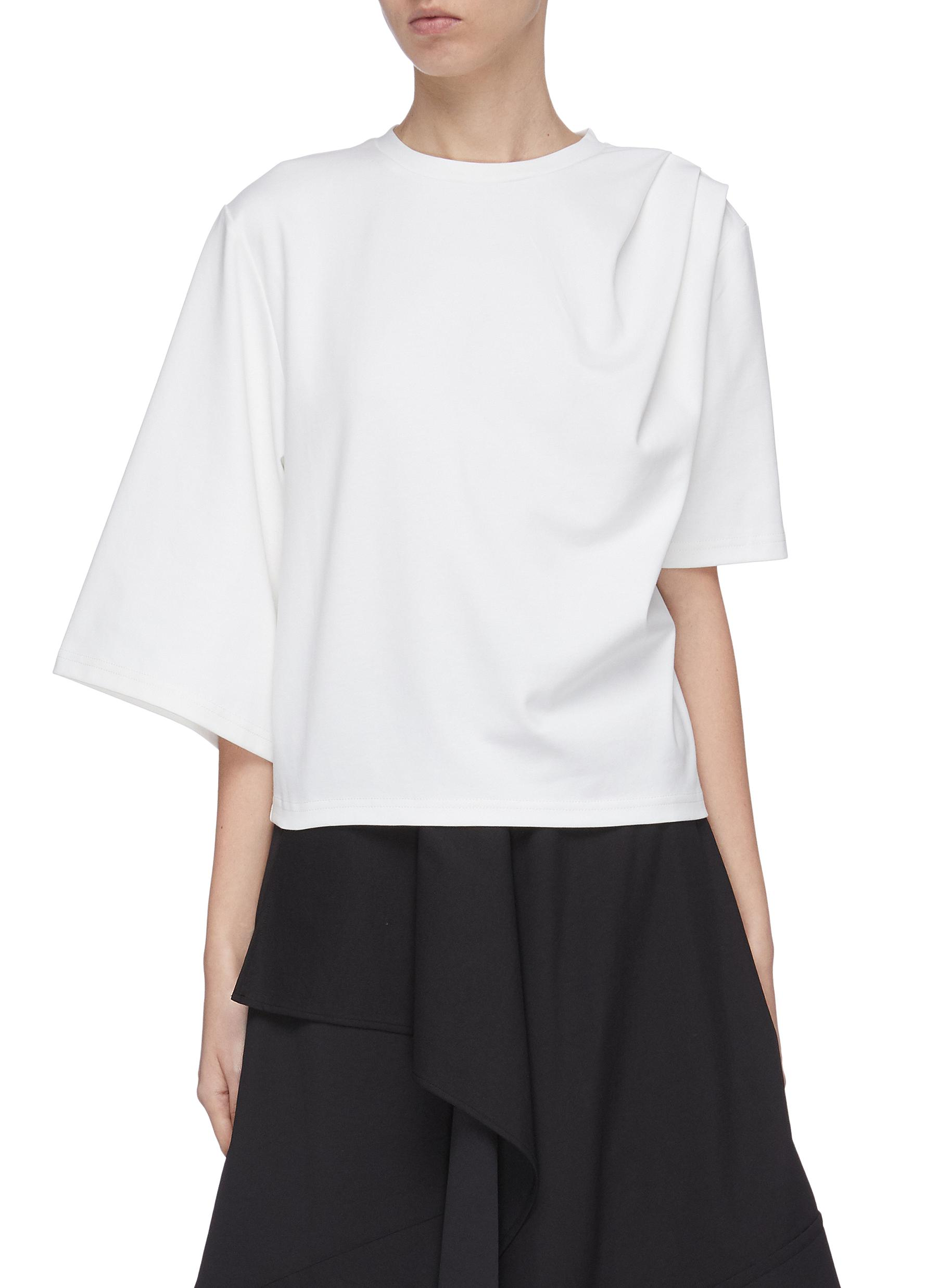 shop Ffixxed Studios Asymmetric gathered shoulder T-shirt online