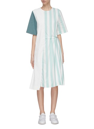 Main View - Click To Enlarge - FFIXXED STUDIOS - Asymmetric pin tuck detail stripe panel T-shirt dress
