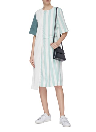 Figure View - Click To Enlarge - FFIXXED STUDIOS - Asymmetric pin tuck detail stripe panel T-shirt dress