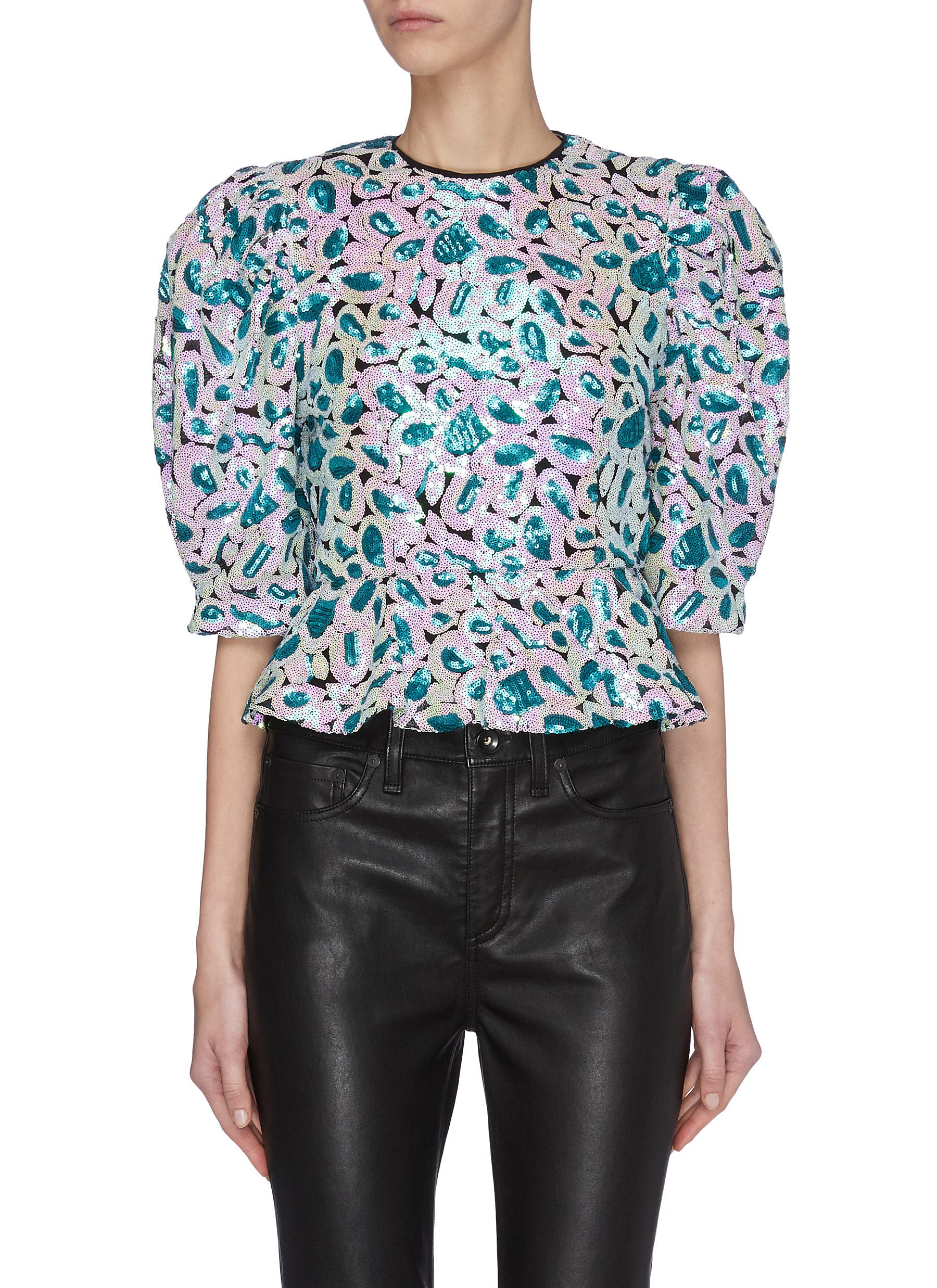 Christina' sequin lantern sleeve top - ROTATE - Modalova