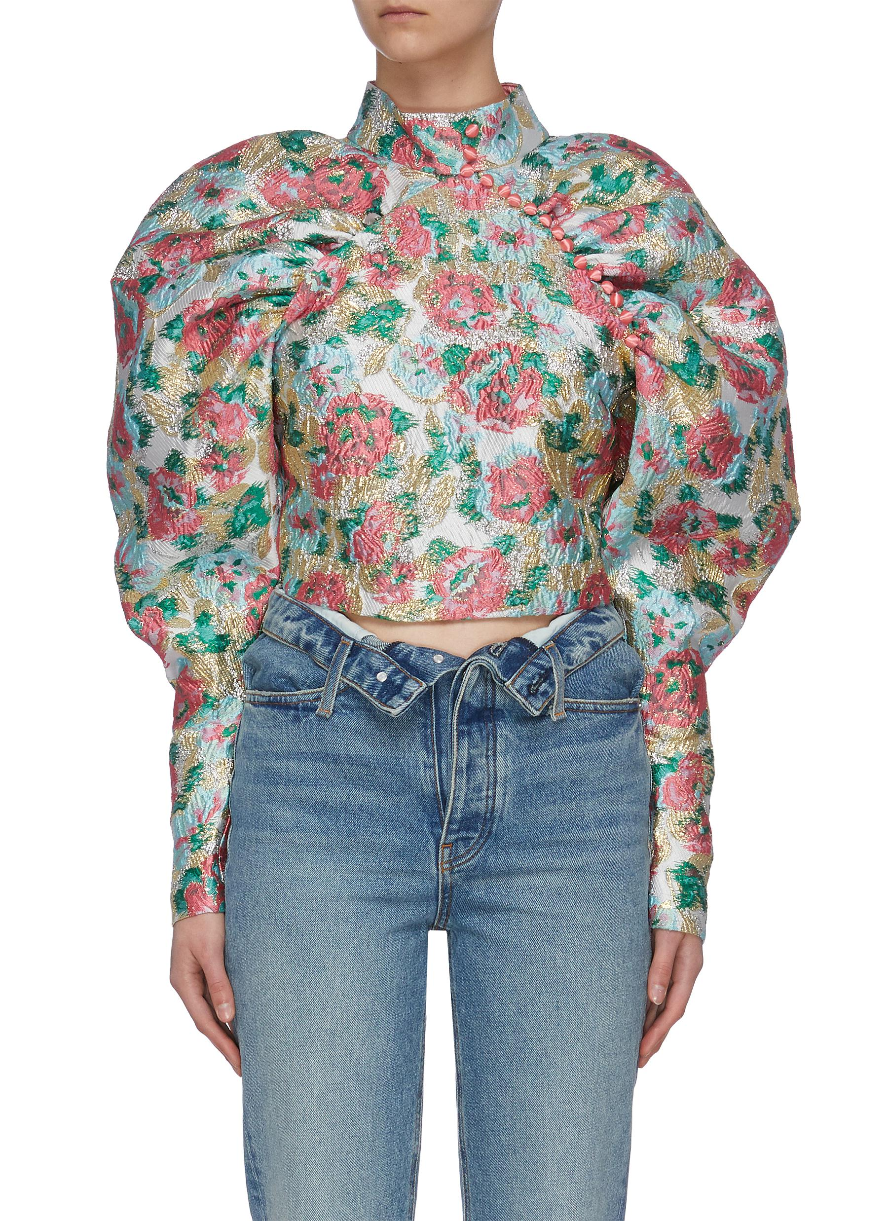 shop Rotate 'Kim' floral print puff sleeve top online