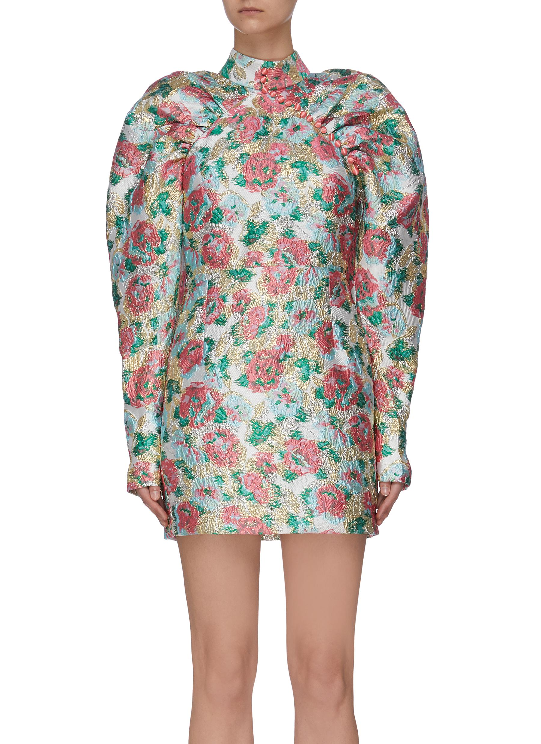 shop Rotate 'Kim' floral print puff sleeve dress online