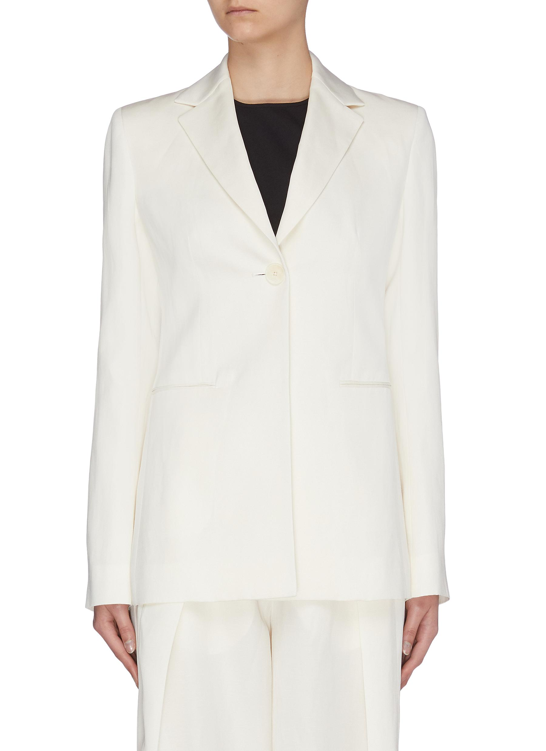 Buy The Row Blazers 'Kiro' notched lapel silk-linen blazer