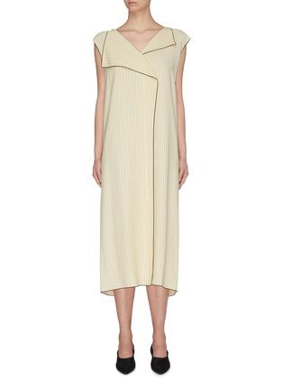 Main View - Click To Enlarge - THE ROW - 'Malka' foldover collar contrast edge herringbone print dress