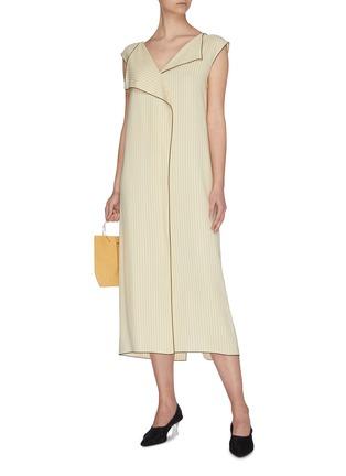 Figure View - Click To Enlarge - THE ROW - 'Malka' foldover collar contrast edge herringbone print dress