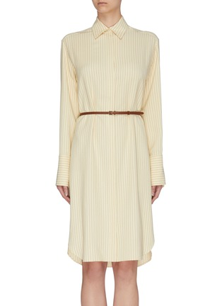 Main View - Click To Enlarge - THE ROW - 'Sonia' belted herringbone print shirt dress