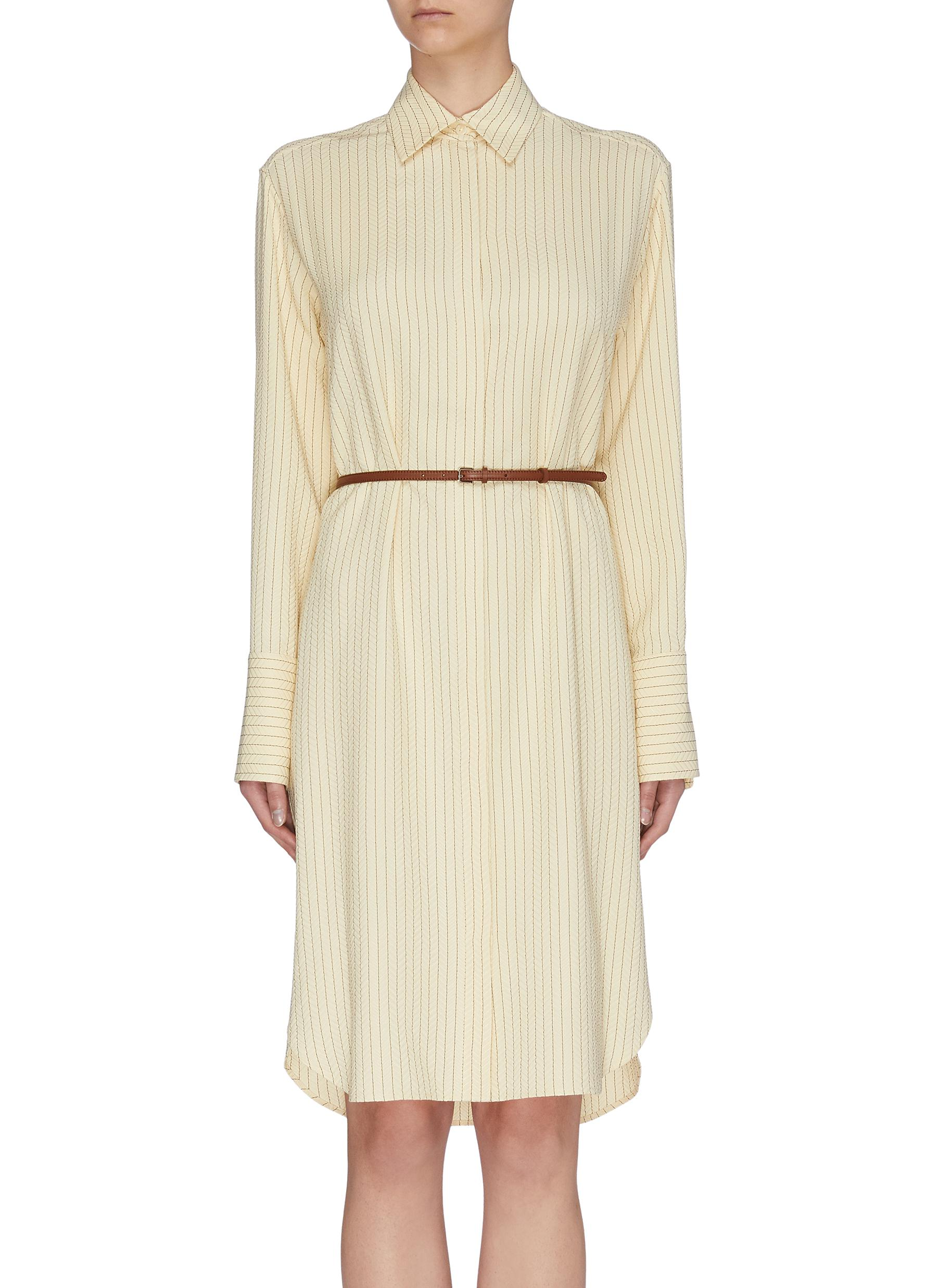 Buy The Row Dresses 'Sonia' belted herringbone print shirt dress