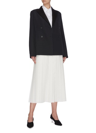 Figure View - Click To Enlarge - THE ROW - 'Magdita' extended waistband pleated georgette skirt